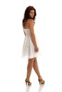 Summer dress a portrait of sexy brunette in white Royalty Free Stock Image