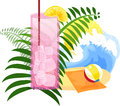 Summer drink on the beach a pink with a lemon slice against a summery background Stock Photography