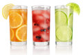 Summer drinks with ice fresh berries lemon and lime isolated on white Stock Photos