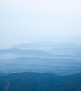Summer early morning foggy himalayas mountains landscape Stock Photo