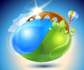 Summer. Eco-icon with nature yin-yang Stock Photo
