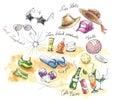 Summer elements illustration Royalty Free Stock Photo