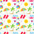 Summer elements seamless pattern Royalty Free Stock Photo