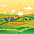 Summer evening landscape illustration of a rural Stock Photography