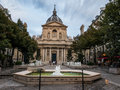 Summer evening in place de la sorbonne paris france august visitors stroll and eat at on a Stock Photography