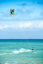 Summer extreme sports. Kite surf activity of athlete Royalty Free Stock Photo