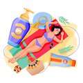 Summer face body solar protection. Woman sunbathing with sunblock. Vector illustration of girl and sunscreen cosmetics Royalty Free Stock Photo