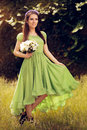 Summer Fairy Girl with Flower Bouquet Royalty Free Stock Photo