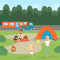 Summer family picnic. Travel by campervan. Vector Illustration
