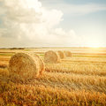 Summer farm scenery with haystack on the background of beautiful sunset agriculture concept instagram styled toned photo Stock Photography