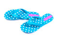 Summer fashion blue Flip Flop Sandals Isolated on White backgrou Royalty Free Stock Photo