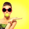 Summer fashion model girl wearing sunglasses Royalty Free Stock Photo