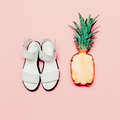 Summer fashion set. Vanilla style pineapple and sandals Royalty Free Stock Photo