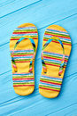 Summer fashion striped sandals. Royalty Free Stock Photo