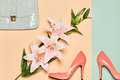 Summer Fashion woman accessories set, lily flowers Royalty Free Stock Photo
