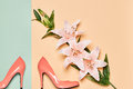 Summer Fashion woman luxury heels, lily flowers Royalty Free Stock Photo