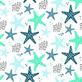 ABSTRACT TROPICAL TEXTURE. STARFISH HAND DRAW COMPOSITION OF SUMMER FEELING SEAMLESS VECTOR PATTERN.