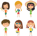 Summer female characters vector illustration.