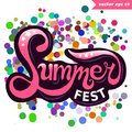 Summer fest colorful hand lettering Royalty Free Stock Photo