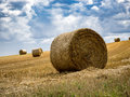 Summer Field with Hay Bales. under storm clouds.Agriculture Conc Royalty Free Stock Photo
