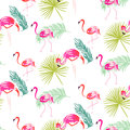 Summer flamingo and palm tropic branches seamless pattern.