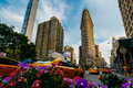 Summer 2015 Flatiron Building at Fifth Avenue and taxi cabs, New