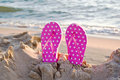 pink polka dot flip-flops Royalty Free Stock Photo