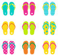 Summer flip flops set isolated on white colorful collection vector Stock Photography