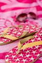 Summer - flip flops, sunglasses & towel Royalty Free Stock Photos