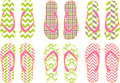Summer flip flops vector flop sandals cool fun patterns in Royalty Free Stock Photography