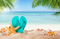Summer flipflop on sandy beach blur sea background exotic relaxation concept Stock Photos