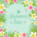 Summer floral frame. Royalty Free Stock Photo