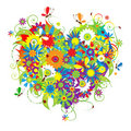 Summer floral heart for your design Stock Photo