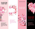Summer floral pink banners vertical Stock Images