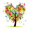 Summer floral tree, heart shape Stock Photos