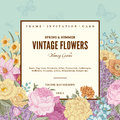 Summer floral vintage vector background. Royalty Free Stock Photo