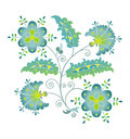 Summer flower blue blossom flowers with leaves on white background Royalty Free Stock Photos