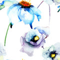 Summer flower colorful watercolor illustration with seamless wallpaper Stock Photo