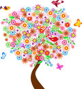 Summer Flower Tree Illustration with Birds and Butterflies Royalty Free Stock Photo