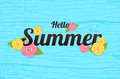 Summer Flowers Background or Summer floral Design on blue backgr
