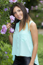 Summer flowers joy cute girl portrait Stock Photography