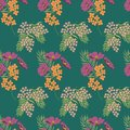 Summer flowers pattern. Thin line elements. Seamless vector floral green background. Seamless vector green floral pattern. Seamles