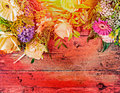 Summer flowers on red wooden background top view place for text toned Stock Photo
