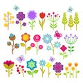 Summer flowers  vector collection. Cute floral elements for retro 70s design Royalty Free Stock Photo
