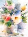 Summer Flowers Watercolor Illustration Hand Painted Royalty Free Stock Photo