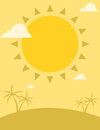 Summer flyer design with sun and palm trees Royalty Free Stock Photo