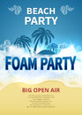 Summer foam party vector poster. Tropical resort beach invitation with soap bubbles