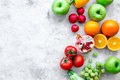 Summer food with fresh fruits and vegetables top view space for text Royalty Free Stock Photo
