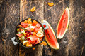Summer food . Fruit salad in a bowl. Royalty Free Stock Photo
