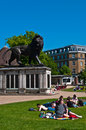 Summer at forbury gardens reading june unidentified people enjoying an early day in reading england on june season starts Stock Photography